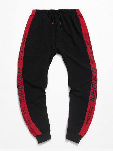 lady Color-blocking Letters Pattern Jogger Pants - RED L Mobile