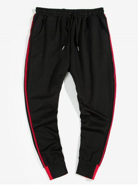 affordable Striped Smile Strap Casual Jogger Pants - RED L Mobile