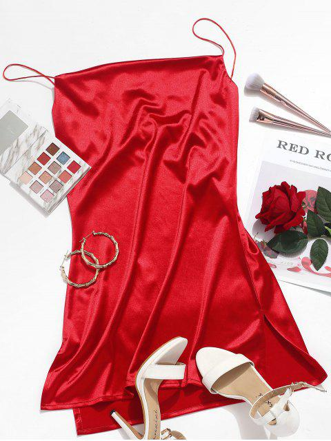 online Side Slit Satin A Line Cami Dress - RED S Mobile