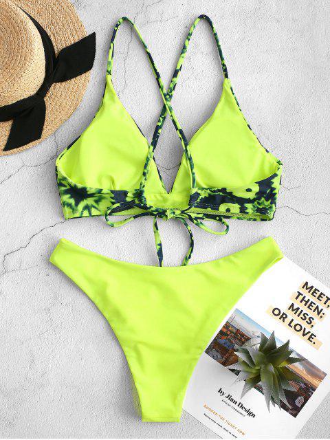 ZAFUL Tai Chi teñido anudado de neón High Cut Cruz bikini - Monasterio S Mobile