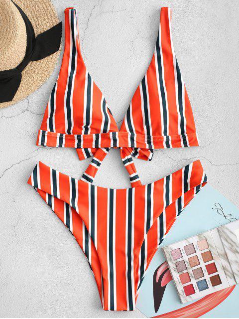 ZAFUL lazo rayado alto de la pierna de baño bikini - Multicolor-A L Mobile