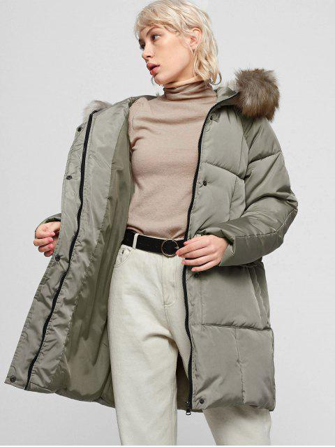 Manteau à Capuche Doudoune Rembourré Zippé à Col en Fausse Fourrure - Vert Armée  M Mobile