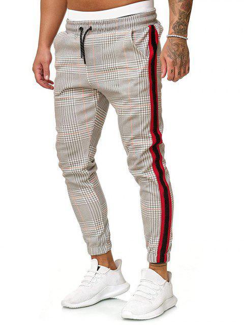 buy Houndstooth Print Drawstring Jogger Pants - MULTI-C L Mobile