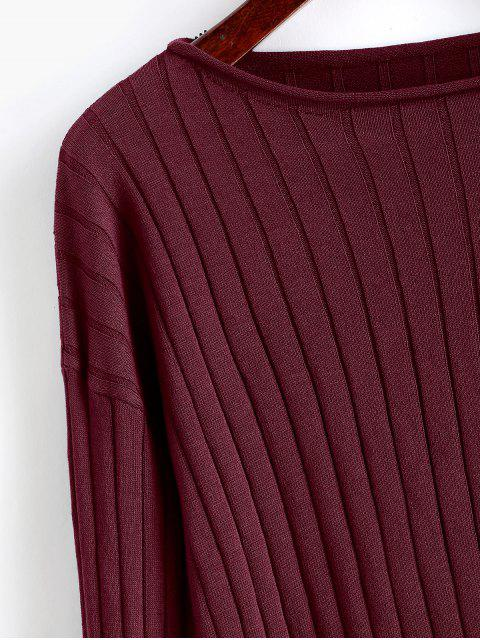 fancy Drop Shoulder Slash Neck Cropped Sweater - FIREBRICK M Mobile