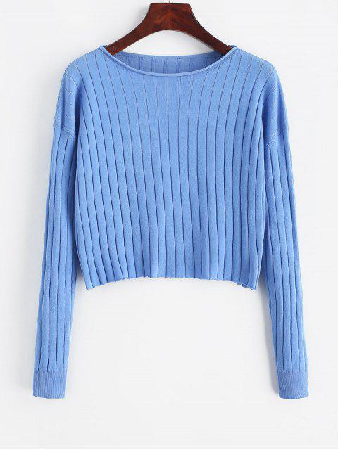 women Drop Shoulder Slash Neck Cropped Sweater - BLUE L Mobile