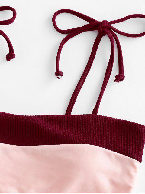 ZAFUL Patch High Cut Auto lazo de baño bikini - Vino Tinto L Mobile