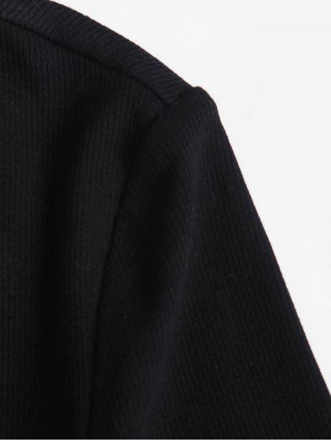 ZAFUL acanalado un hombro bodycon de la falda de hendidura - Negro XL Mobile