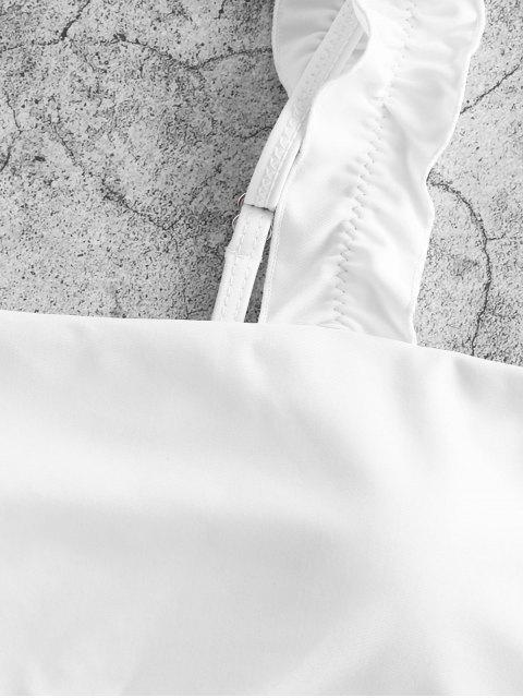 online ZAFUL Lettuce Straps Colorblock High Leg Bikini Swimsuit - BRIGHT YELLOW S Mobile