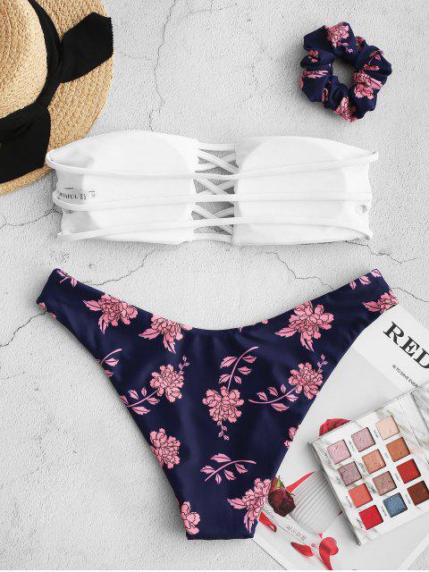 ZAFUL Bikini Bandeau de Flores - Azul Oscuro de Denim L Mobile