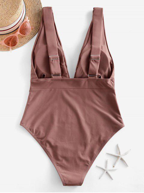 lady ZAFUL Ruched Drop Armhole Plunge One-piece Swimsuit - KHAKI ROSE S Mobile