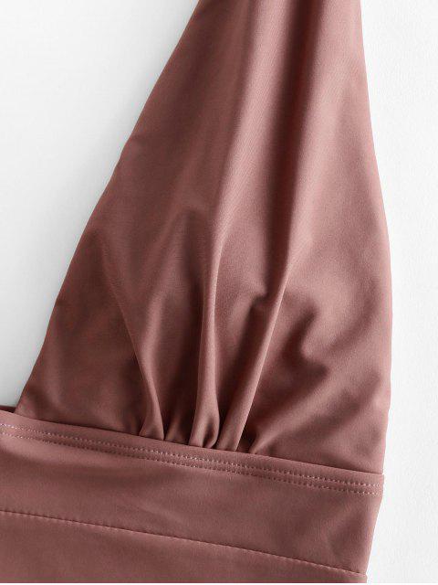 Costume Intero con Scollo Profondo di ZAFUL - Khaki Rose XL Mobile