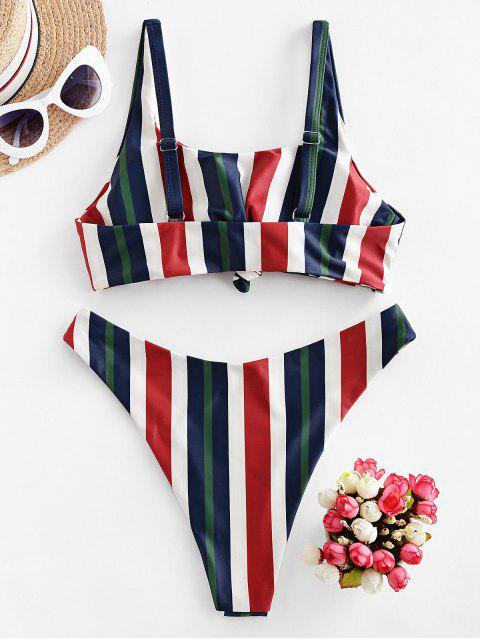 ZAFUL Maillot de Bain Bikini Noué à Multi-Rayure - Multi-A M Mobile