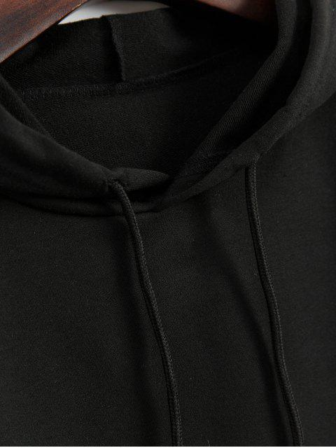 unique Dragon Graphic Front Pocket Drawstring Hoodie - BLACK L Mobile