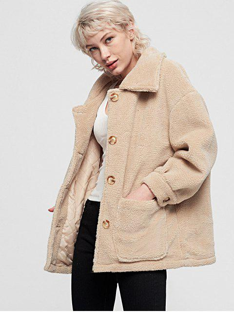 Manteau Simple Fourré avec Simple Boutonnage avec Poche - Blanc Chaud S Mobile