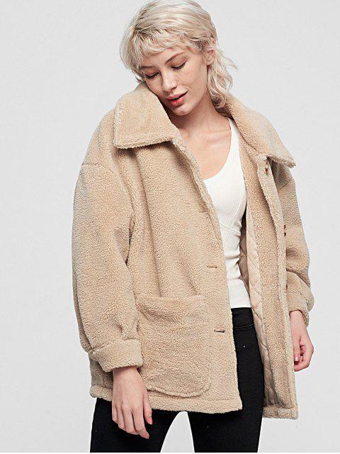 蓬鬆的口袋單排扣大衣泰迪 - 暖白色 S Mobile