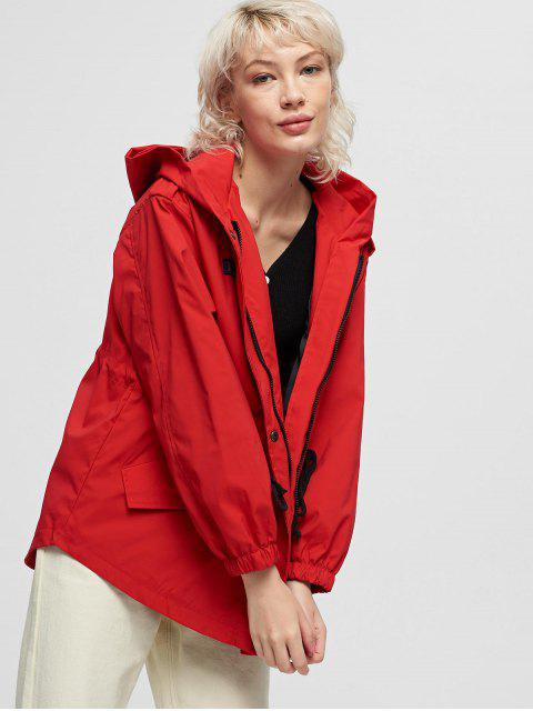 unique Hooded Drawstring Zip Up Pocket Windbreaker Jacket - RED XL Mobile
