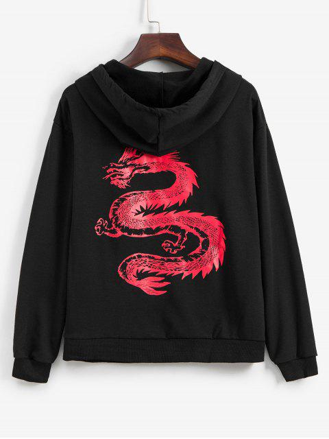 online Dragon Graphic Front Pocket Drawstring Hoodie - BLACK S Mobile