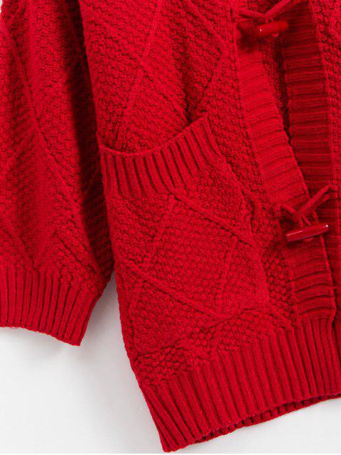 聖誕節喇叭按鈕的下拉肩部口袋外套開衫 - 紅 One Size Mobile