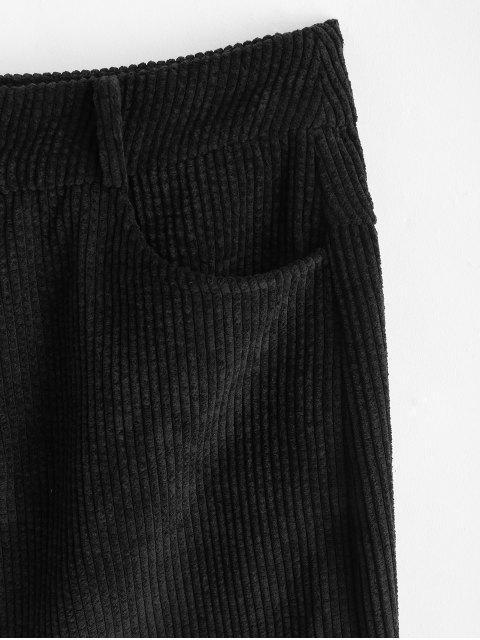 ZAFUL Zwei Geknöpfte Taschen Kord Minirock - Schwarz M Mobile