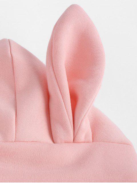 ZAFUL兔耳袋鼠口袋抽繩連帽外套 - 粉 M Mobile