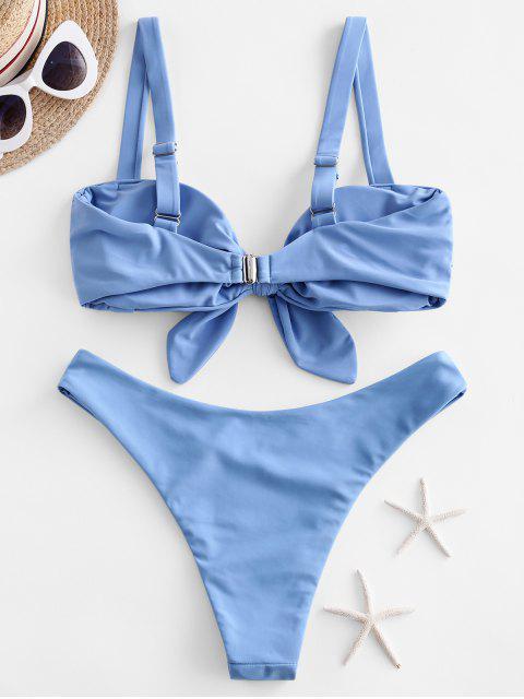 ZAFUL褶飾結高切比基尼泳裝 - 天藍天 M Mobile