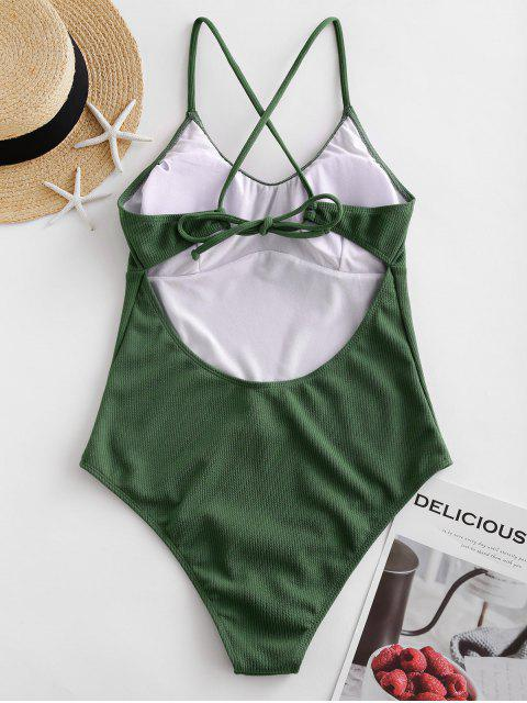 affordable ZAFUL Ribbed Textured Backless One-piece Swimsuit - HAZEL GREEN S Mobile