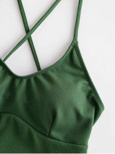 ZAFUL Открытая спина Ребристый Слитный Купальник - Светло-коричневый-зеленый  M Mobile
