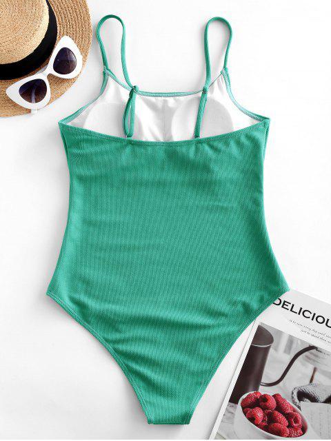 ZAFUL基本紋理線免費連體泳衣 - 金剛鸚鵡藍綠色 L Mobile