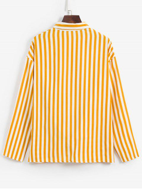 shops Striped Twisted Pocket Drop Shoulder Shirt - YELLOW S Mobile
