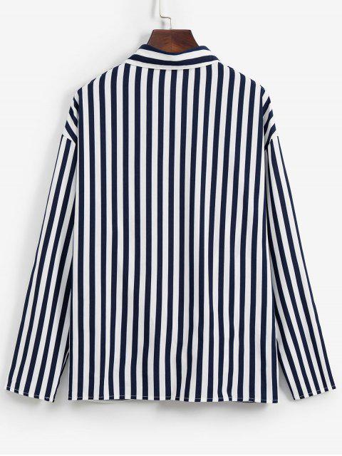 fancy Striped Twisted Pocket Drop Shoulder Shirt - DEEP BLUE S Mobile
