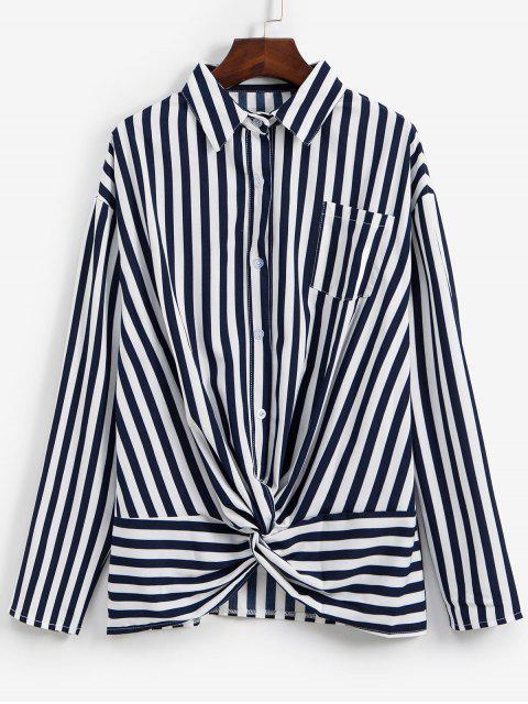 latest Striped Twisted Pocket Drop Shoulder Shirt - DEEP BLUE L Mobile