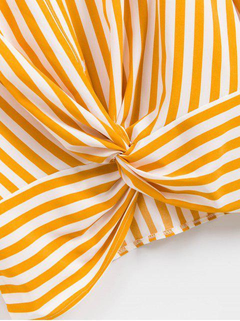 shop Striped Twisted Pocket Drop Shoulder Shirt - YELLOW M Mobile
