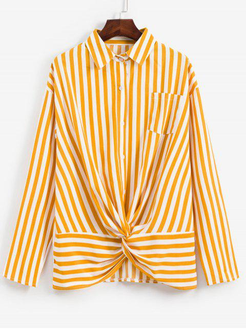 shops Striped Twisted Pocket Drop Shoulder Shirt - YELLOW L Mobile