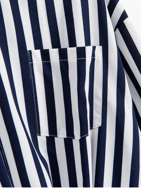 unique Striped Twisted Pocket Drop Shoulder Shirt - DEEP BLUE M Mobile