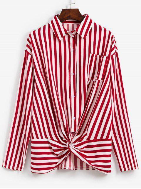 shops Striped Twisted Pocket Drop Shoulder Shirt - RED WINE S Mobile