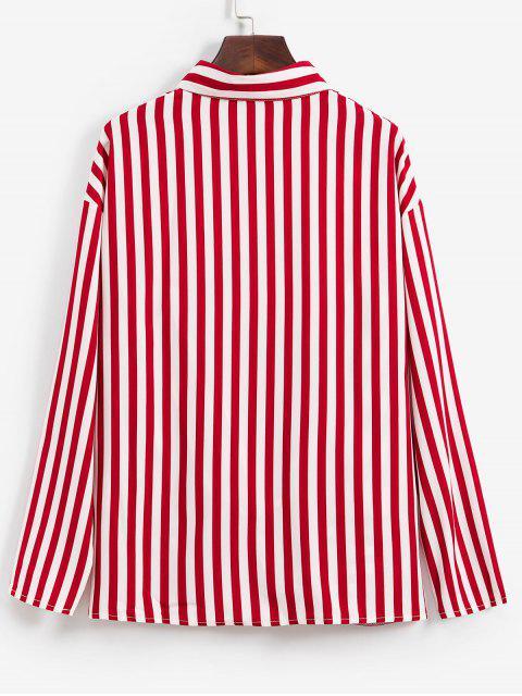 best Striped Twisted Pocket Drop Shoulder Shirt - RED WINE M Mobile