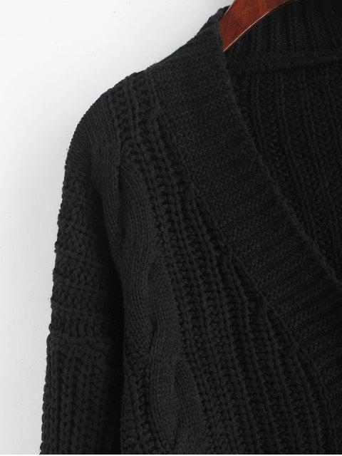 shops ZAFUL X Luna Montana Button Front Chunky Cable Knit Cardigan - BLACK ONE SIZE Mobile