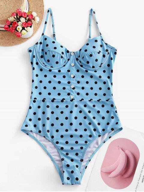ZAFUL波點高切胸衣連體泳衣 - 藍色錦鯉 S Mobile