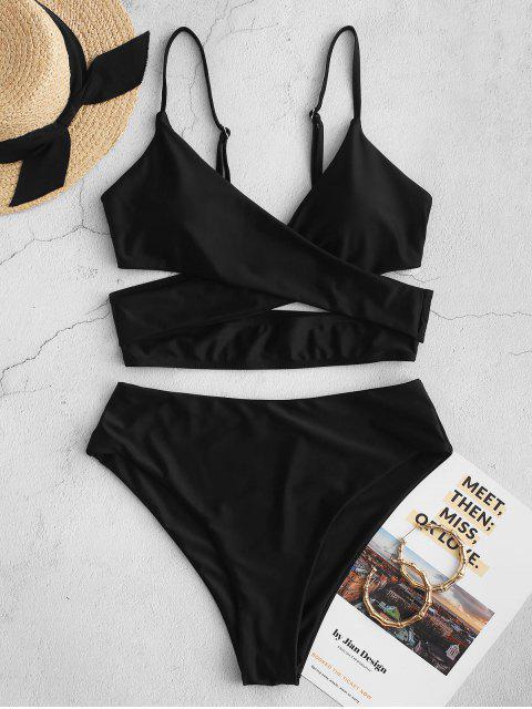 fancy ZAFUL Crossover High Cut Cutout Tankini Swimsuit - BLACK M Mobile