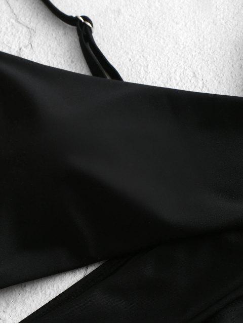 ZAFUL Tankini de Corte Alto con Cordones Frontales - Negro 2XL Mobile