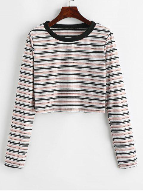 shops Striped Ribbed Long Sleeve Tee - MULTI S Mobile