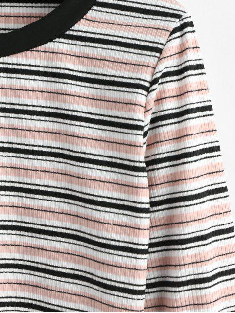 affordable Striped Ribbed Long Sleeve Tee - MULTI L Mobile
