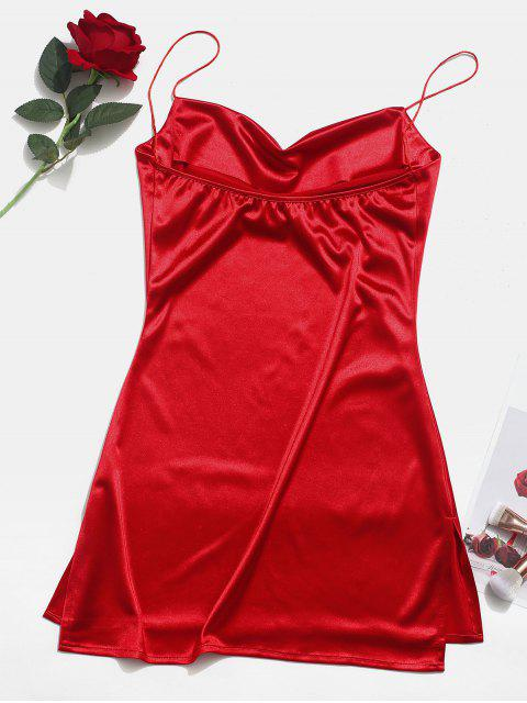 women's Side Slit Satin A Line Cami Dress - RED XS Mobile