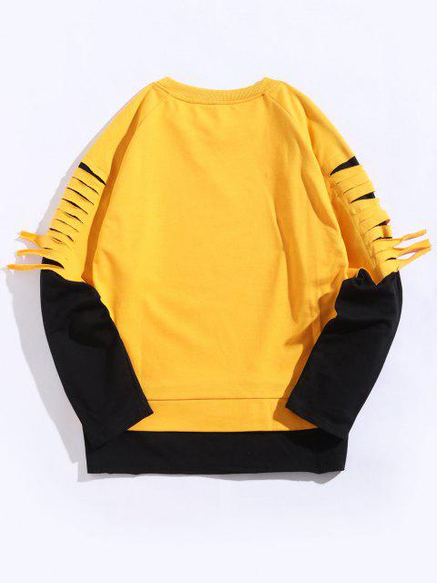 shop Colorblock Ripped Raglan Sleeve Faux Twinset Sweatshirt - RUBBER DUCKY YELLOW 2XL Mobile
