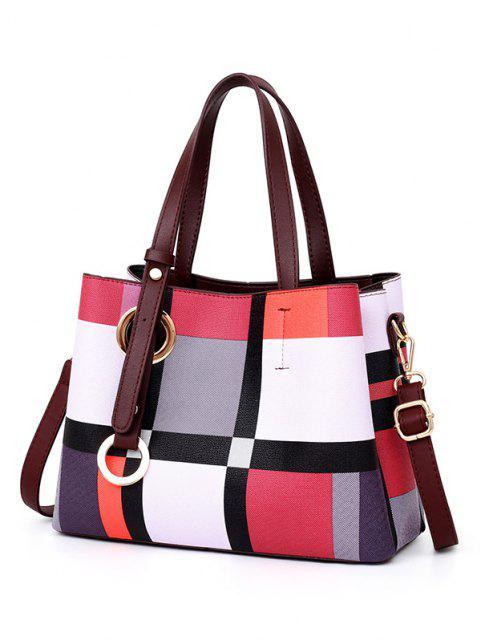 shops 3Pcs Grid Striped Handbag Shoulder Bag Set - PINK  Mobile