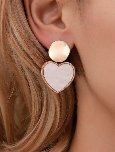 Brief Heart Round Water Drop Earrings - Gold Peach Heart