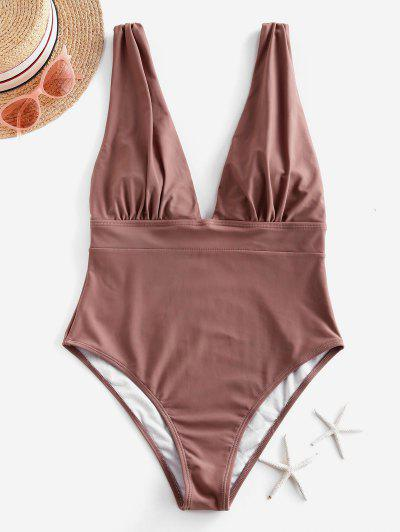 ZAFUL Ruched Drop Armhole Plunge One-piece Swimsuit - Khaki Rose Xl