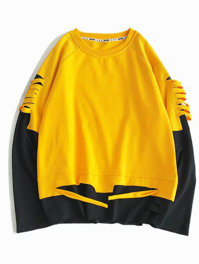 Colorblock Ripped Raglan Sleeve Faux Twinset Sweatshirt - Rubber Ducky Yellow 2xl
