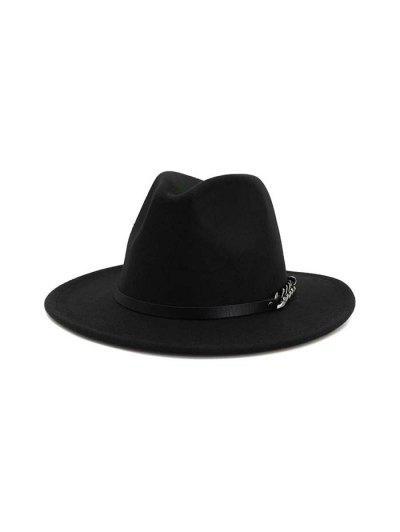 Chain Design Winter Classic Woolen Hat - Black