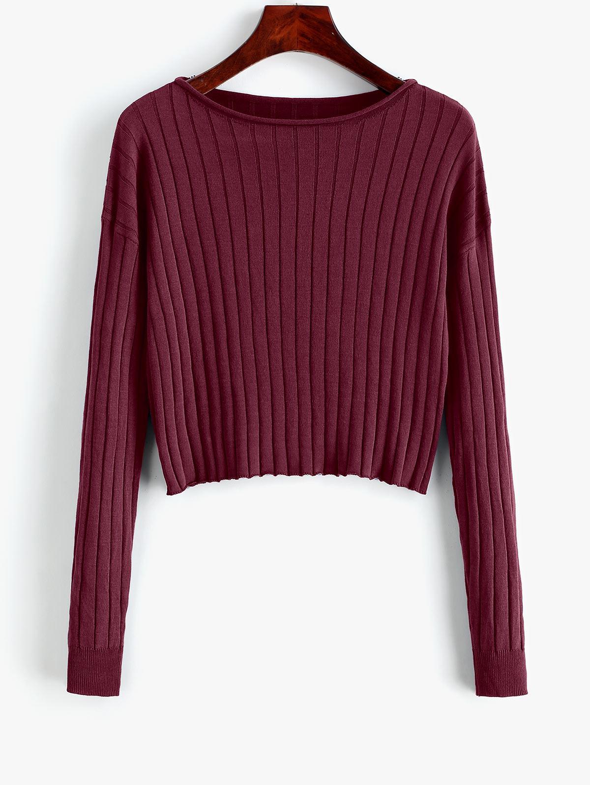 Drop Shoulder Slash Neck Cropped Sweater